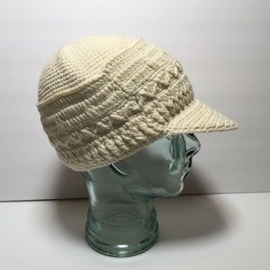KANGOL Crochet Cap Hat Ivory Knit Cotton